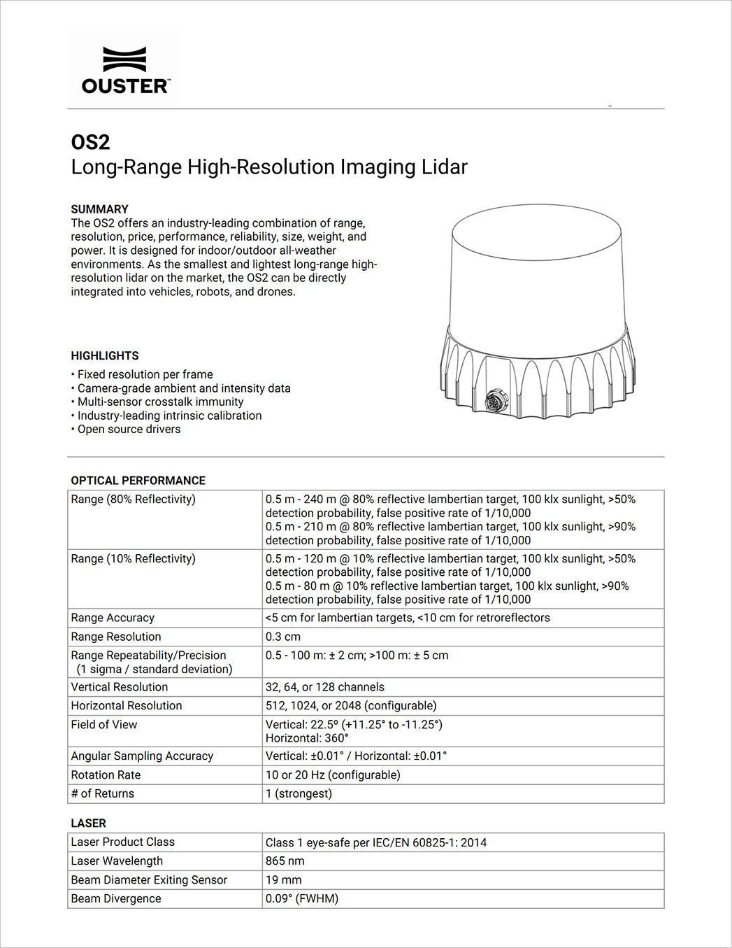 【OS2】远程激光雷达