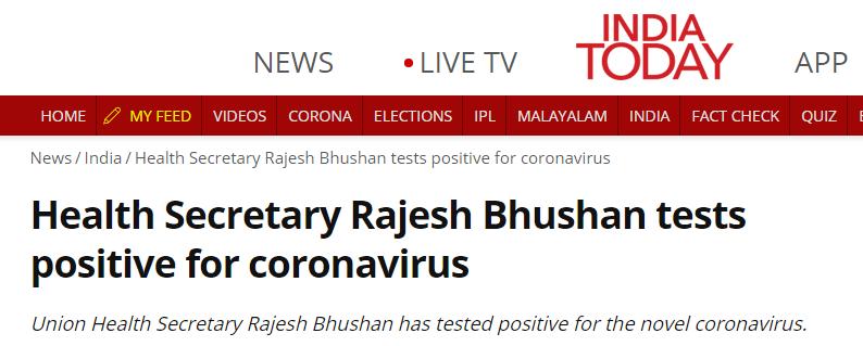 盛图注册快讯!印媒:印度卫生部秘书新冠检测呈阳性