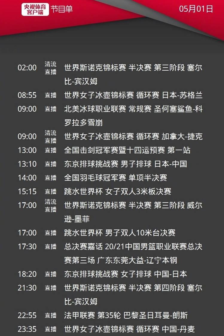 CCTV5直播CBA总决赛G3辽篮PK广东男篮,APP转巴黎圣日耳曼,5+转中国女排+国米