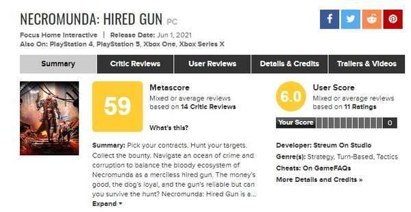《涅克罗蒙达:赏金猎人》M站均分59 BUG、AI严重影响游戏体验