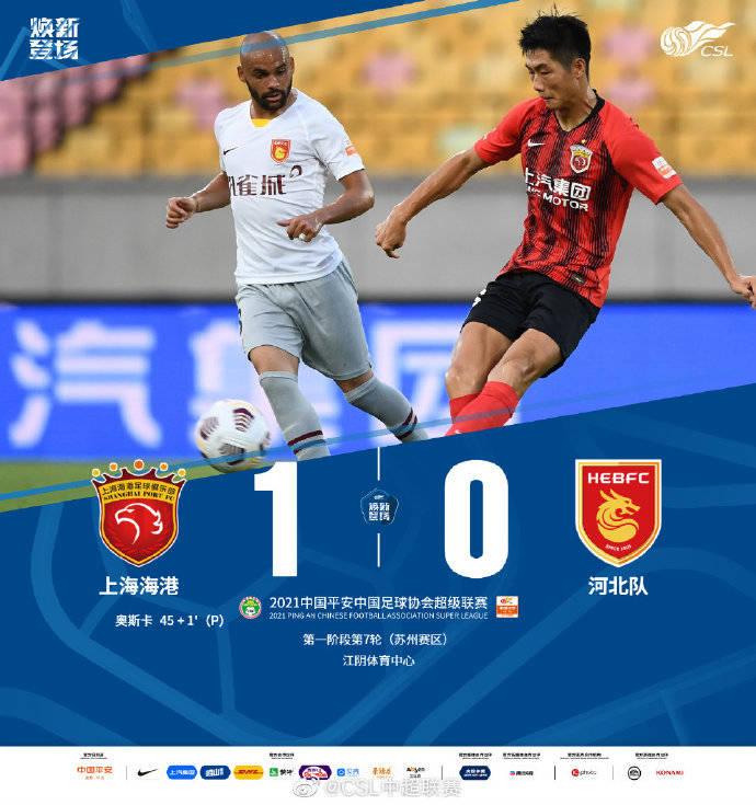 中超-奥斯卡点球命中 海港1-0河北队7战不败领跑