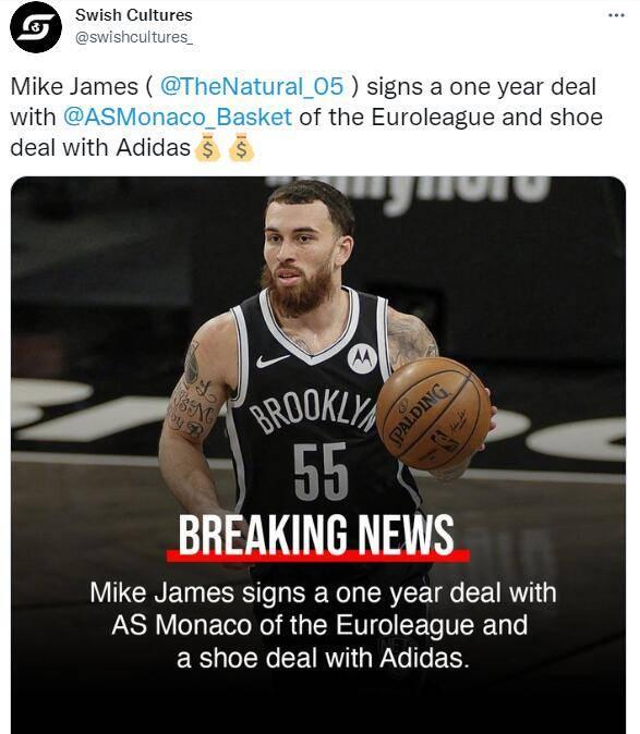 迈克-詹姆斯签法甲细节:年薪250万欧超NBA底薪,一人占工资帽25%                                   图3