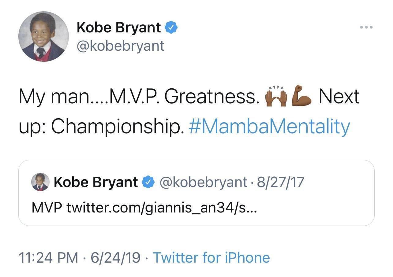 他做到了!字母哥完成两项科比挑战:MVP与总冠军