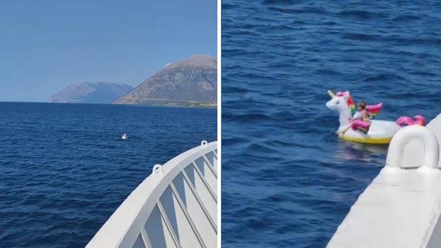 小女孩乘坐獨角獸充氣船漂向深海  小女孩漂流的勇氣是哪里來的?