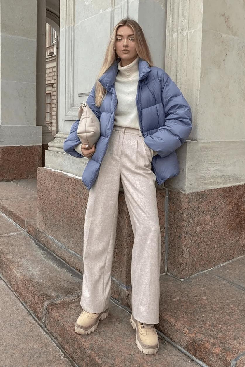 别老穿大衣了!天气冷这样搭,暖和又时髦!!