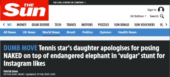 22岁俄罗斯女模特裸体骑濒危大象,网友气愤不已,当事人道歉