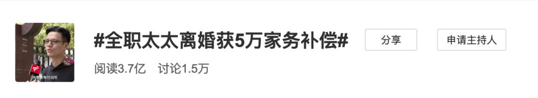 """""""全职太太离婚获5万家务补偿""""冲上热搜,主审法官回应  第1张"""