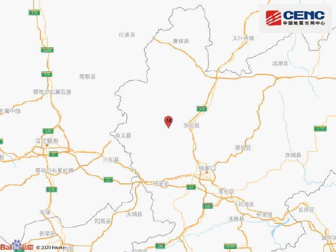 河北张家口市张北县发生3.0级地震,震源深度13千米