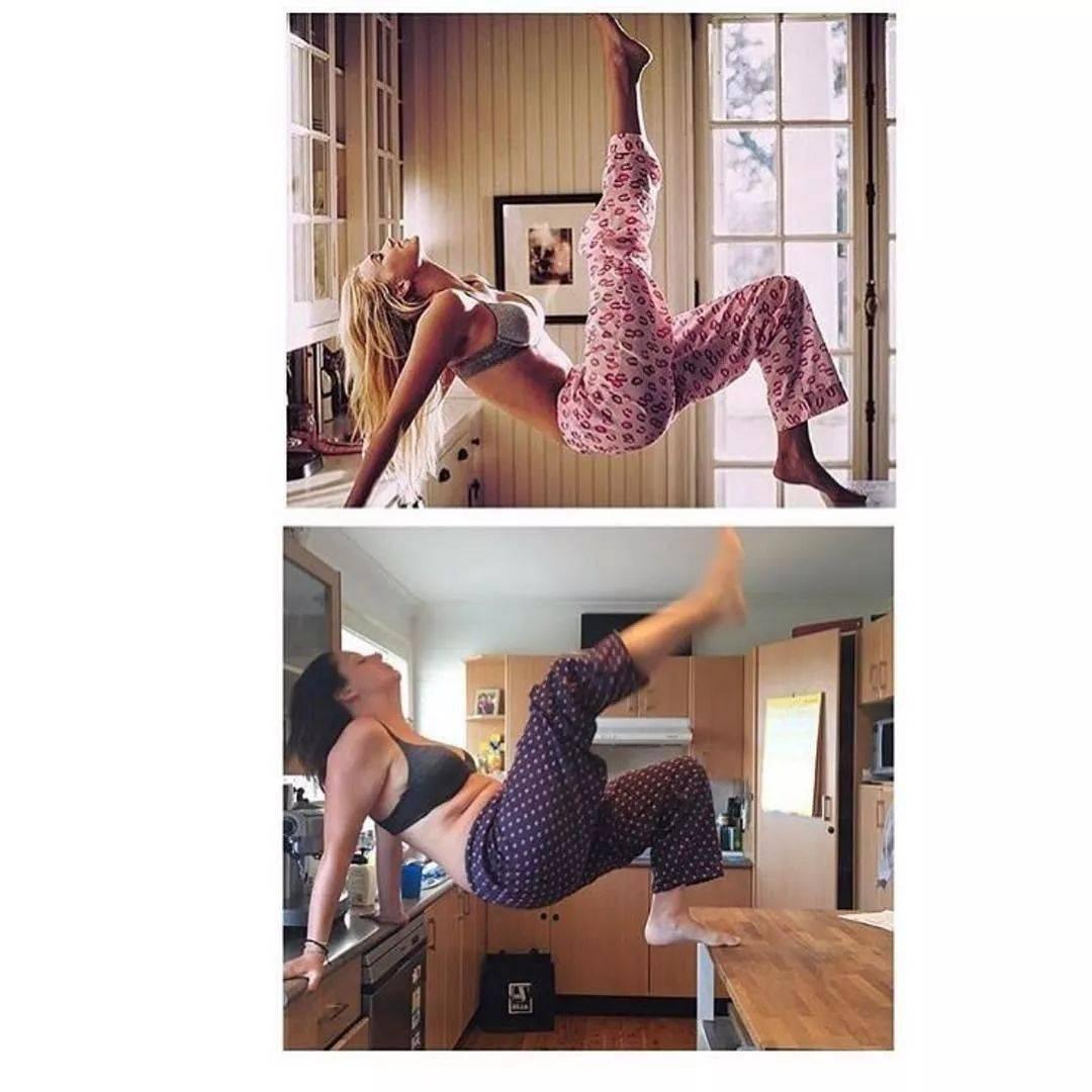 别人的瑜伽照 VS 你的瑜伽照,笑死了哈哈哈哈