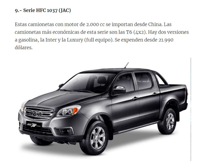 JAC T6皮卡被选为2020年厄瓜多尔十大畅销车型之一