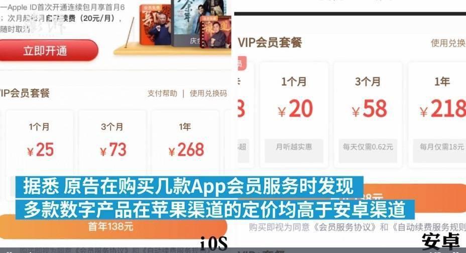 因为不满购买App会员比安卓用户贵,上海用户起诉苹果接受