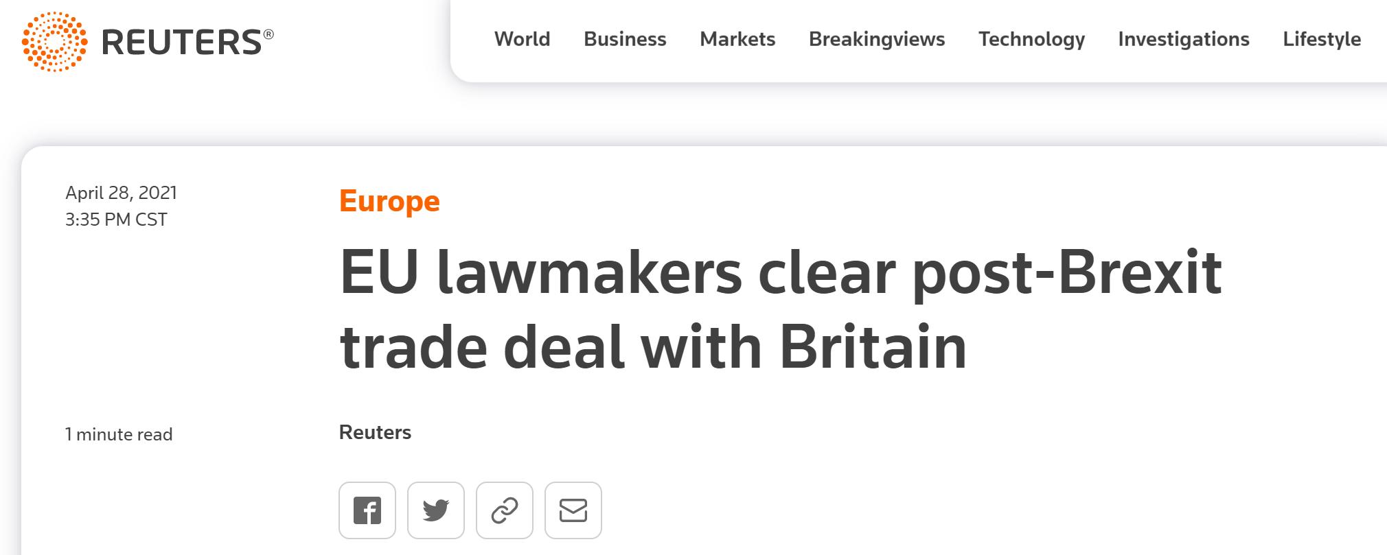 """欧洲议会通过欧英贸易协定,欧洲理事会主席:英国永远是欧盟""""重要朋友和伙伴"""""""