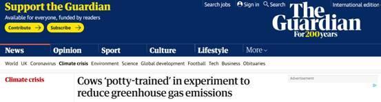 """为减少温室气体排放,英媒曝科学家想""""奇招"""":训练牛定点上厕所……"""